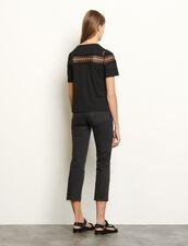 T-shirt con pizzo : Magliette colore Nero