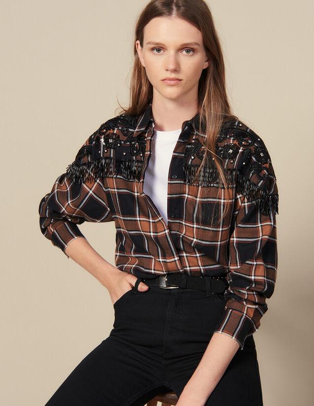 Chemise À Carreaux Et Broderies Western : Tops & Chemises couleur Camel/noir