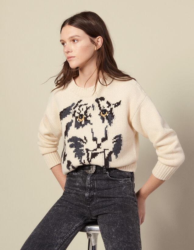 Pullover girocollo con motivo tigre : Maglieria & Cardigan colore Ecru