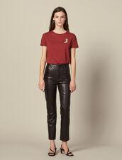 Pantaloni in pelle dritti con aperture : FBlackFriday-FR-FSelection-30 colore Marron