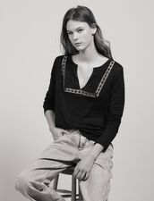 T-Shirt In Lino Con Collo Serafino : null colore Nero
