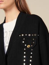Cardigan-cappotto con borchie : Maglieria & Cardigan colore Nero