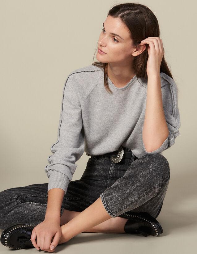 Pullover Con Finiture A Onde : Maglieria & Cardigan colore Grigio Chiaro