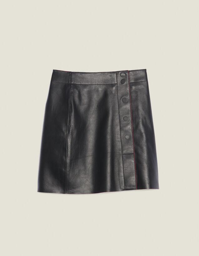 Gonna In Pelle Con Linea A Trapezio : Gonne & Short colore Nero