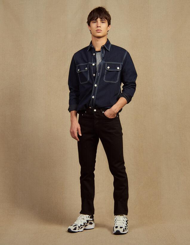 Jeans Slim In Tela Di Cotone : Jeans colore Nero