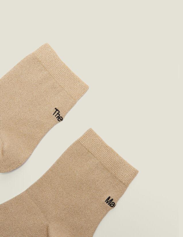 Calzini Lurex Con Ricamo : Calze colore Oro