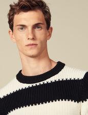 Pullover In Maglia A Righe Con Perle : Maglioni & Cardigan colore Écru/Nero