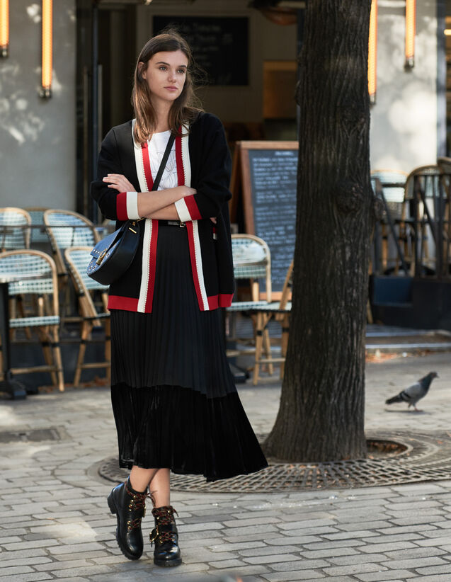 Cardigan-cappotto con righe a contrasto : Maglieria & Cardigan colore Nero