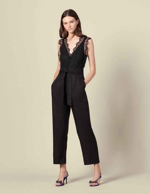 Tuta pantalone con top in pizzo : Tute colore Nero