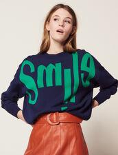 Pullover Con Scritta Sul Davanti : Maglieria & Cardigan colore Blu Marino
