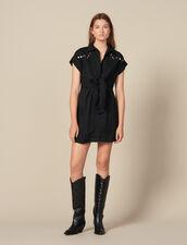 Robe chemise ornée de studs colorés : Robes couleur Noir