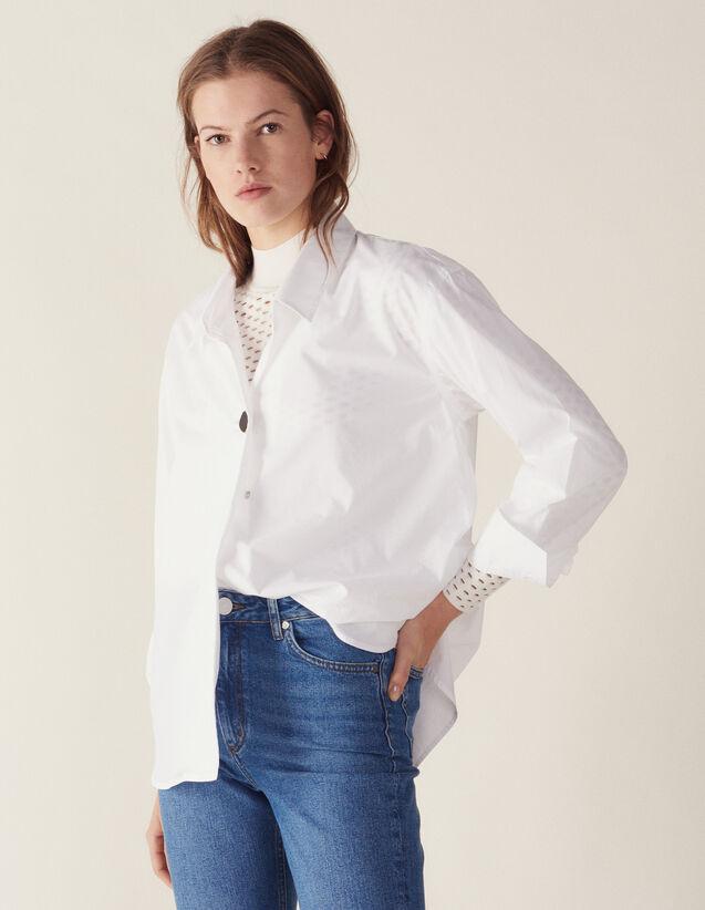 Chemise En Coton Ornée D'Un Bouton Bijou : null couleur Blanc
