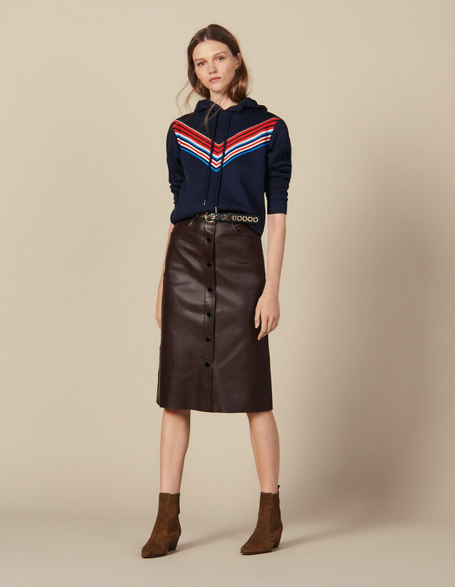 Gonna Midi In Pelle : Gonne & Short colore Marron