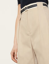 Pantaloni in gabardine di cotone : Pantaloni colore Beige