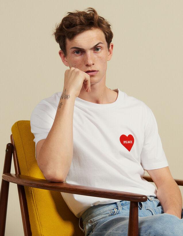 T-Shirt In Cotone Con Cuore Floccato : Magliette & Polo colore Bianco