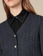 Cardigan Corto Con Bottoni A Perla : Maglieria & Cardigan colore Grigio