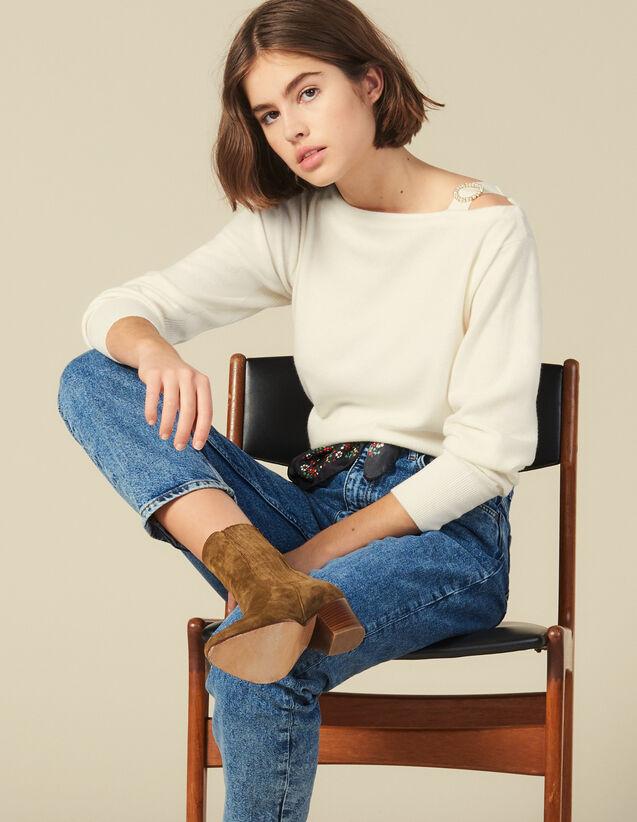 Pull À Encolure Bateau Et Boucle Bijou : Pulls & Cardigans couleur Ecru