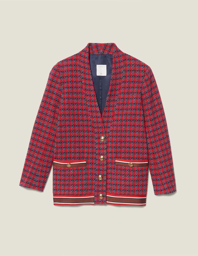 Cardigan-cappotto in tweed con bottoni : Tutti le Confezione colore Rosso