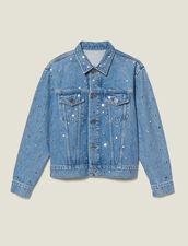 Veste En Jean Ornée De Studs : Blousons & Vestes couleur Bleu jean