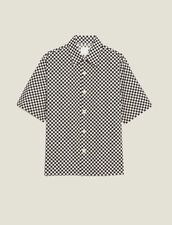 Camicia A Scacchi In Tessuto Giapponese : LastChance-CH-HSelection-Pap&Access colore Nero