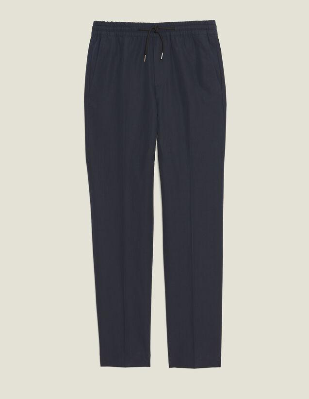 Pantaloni Da Città In Cotone E Lino : LastChance-CH-HSelection-Pap&Access colore Blu Marino