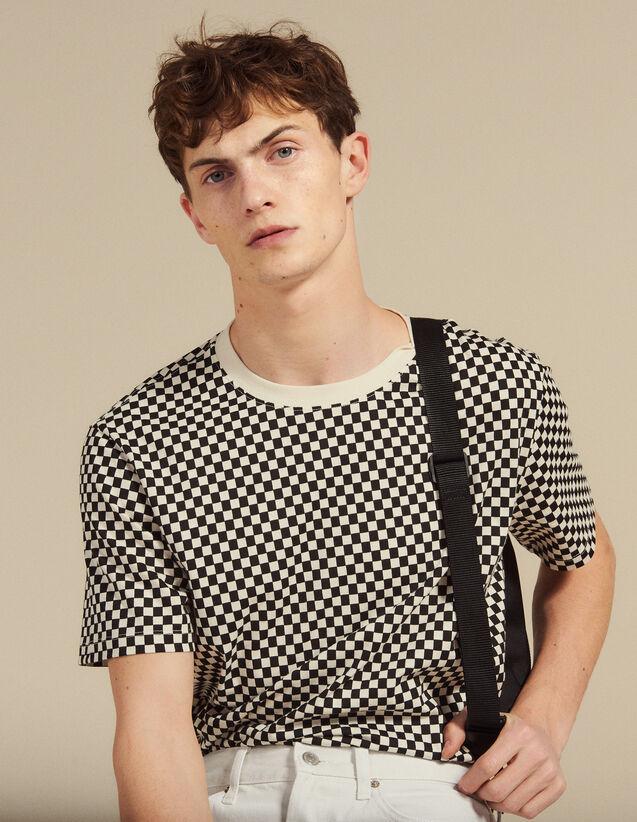 T-Shirt A Scacchi In Cotone : Magliette & Polo colore Nero