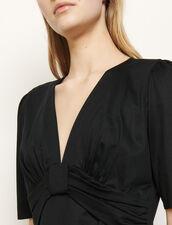 T-shirt con fiocco e drappeggio : Magliette colore Nero