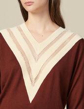 Pullover Con Scollo A V Effetto Pizzo : Maglieria & Cardigan colore Brown
