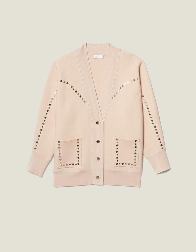 Cardigan-cappotto ornato da borchie : LastChance-ES-F40 colore Carne