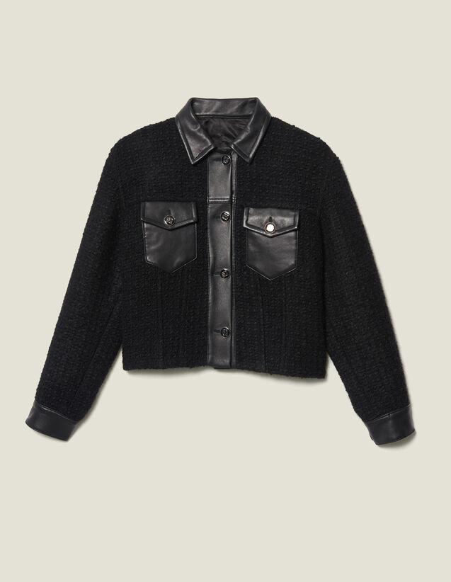 Giubbotto in tweed con finiture in pelle : LastChance-ES-F40 colore Nero
