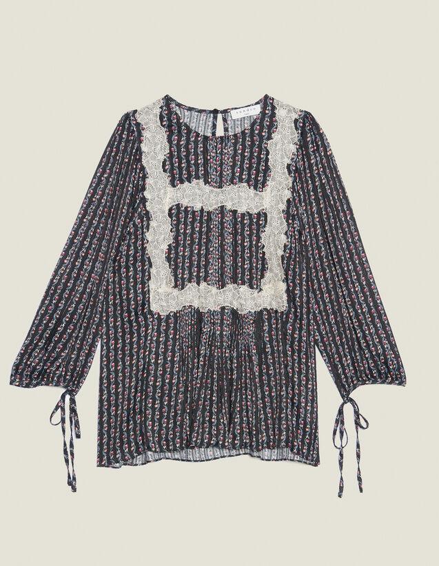 Blusa Stampata Con Maniche A 3/4 : null colore Nero