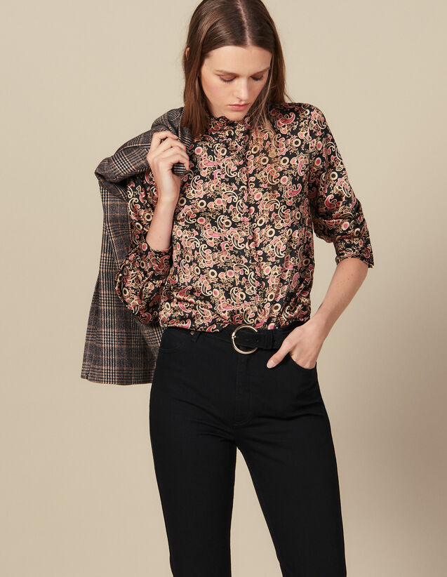 Camicia Con Collo Alto Ornato Di Volant : Top & Camicie colore Nero