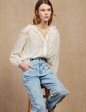 Blusa Fluida Con Decorazioni In Pizzo : Top & Camicie colore Ecru