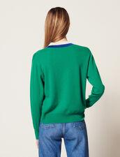 Pullover Con Scollo A V A Coste Bicolore : null colore Verde