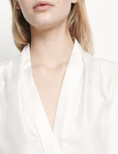Camicia in seta con scollo a V : Top & Camicie colore Ecru