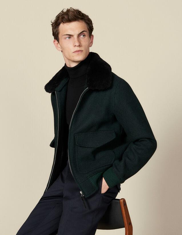 Blouson aviateur en laine chevron : Blousons & Vestes couleur Vert foncé