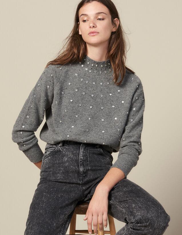 Pullover In Maglia Ornato Da Borchie : Maglieria & Cardigan colore Grigio