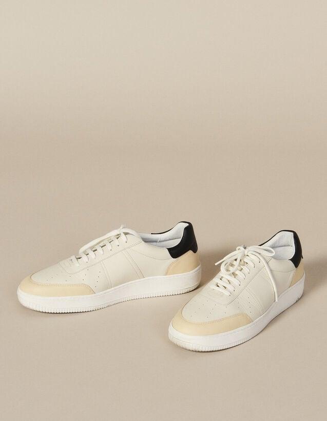Sneaker In Pelle : Scarpe colore Bianco/Nero