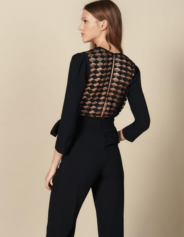 Combinaison Pantalon Cache-Cœur : Combinaisons couleur Noir