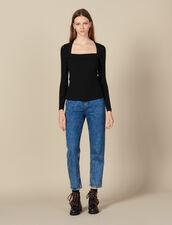 Pull à encolure carrée : Pulls & Cardigans couleur Noir
