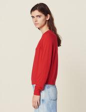 Pullover A Maniche Lunghe In Lana : null colore Rosso