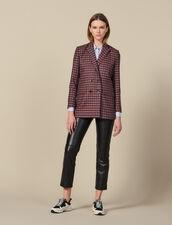 Blazer À Carreaux Et Double Boutonnage : Blousons & Vestes couleur Multicolore