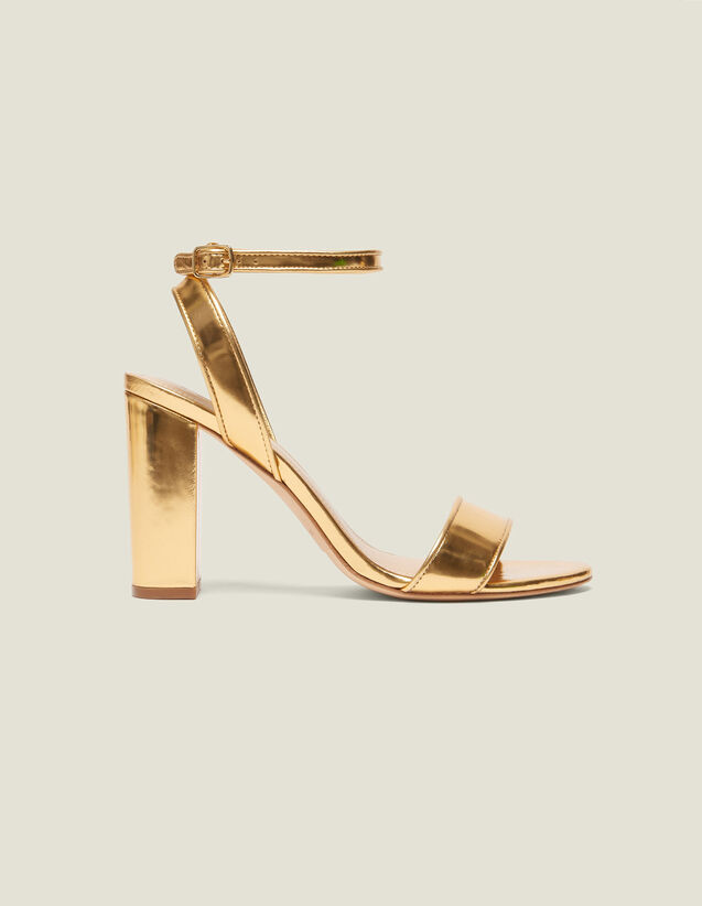 Sandali Con Tacco In Pelle Metallizzata : Sandali colore Oro