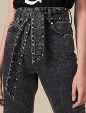 Jeans Snow Washed Con Borchie : Jeans colore Nero
