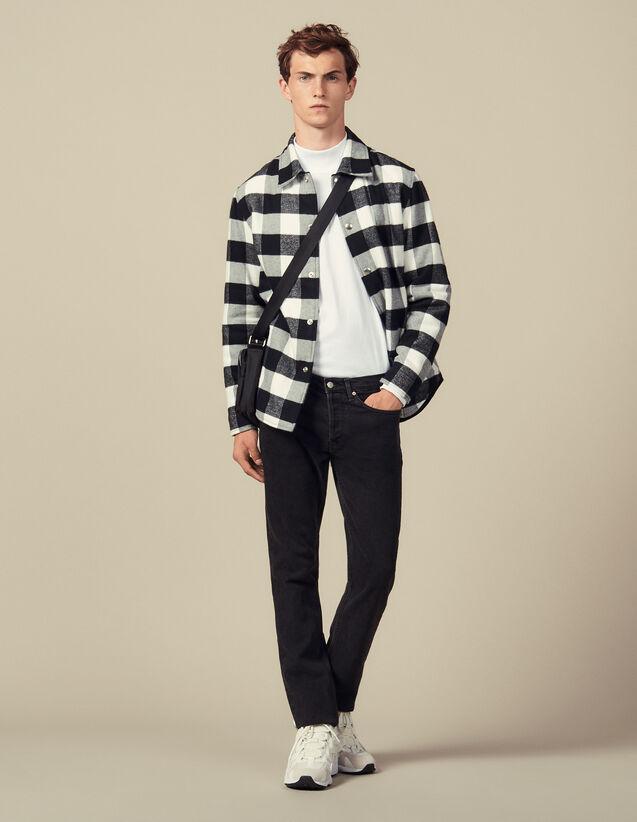 Giubbotto Stile Camicia In Lana A Quadri : Giubbotti & Giacche colore Nero/Bianco