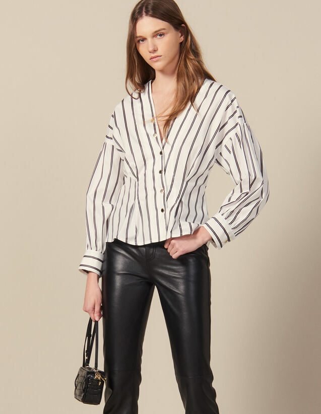 Chemise Cintrée En Popeline Rayée : Tops & Chemises couleur Blanc