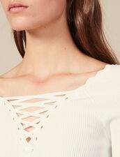 Pullover Con Scollo Allacciato : Maglieria & Cardigan colore Bianco