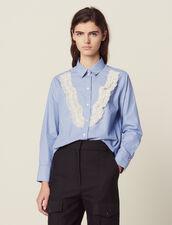 Camicia A Righe Sottili Con Pizzo : null colore Sky Blue