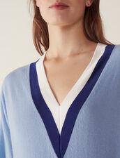 Pullover Con Scollo A V A Coste Bicolore : null colore Sky Blue