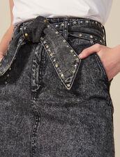 Gonna A Vita Alta Con Cintura : Gonne & Short colore Nero